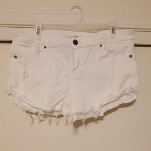 White distressed jean shorts